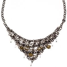 Ellen Necklace – Perfect for that elegant Christmas party, the Ellen Necklace is a bib style necklace with black chain adorned with clear and smoky crystal beads.ViBella