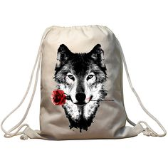 Wolf 3D Printing Swimming Bags New Fitness And Sports Drawstring Bags European Men And Women Beach Backpack Shoes Bag