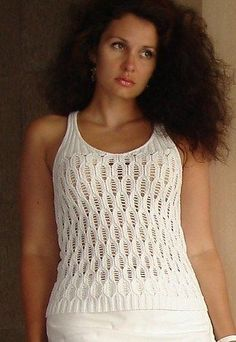 Free knitting pattern for White Lotus Lace Sleeveless top - Lace top designed by Lana Grossa for sizes 38/40, 42/44.
