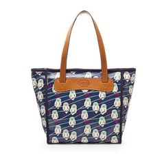 New FOSSIL navy/mint/pink OWLS coated canvas Keyper Shopper TOTE bag $98 #Fossil #TotesShoppers