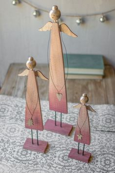 Vintage Style Set of 3 Wooden Angels on Stands Christmas Decor Figurine