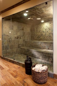 Holy cow, i love this! A master shower with added waterfall then turns into sauna Holy cow, i love this! A master shower with added waterfall then turns into sauna… Dream Bathrooms, Beautiful Bathrooms, Luxury Bathrooms, Master Bathrooms, Hotel Bathrooms, Master Bedroom, Master Baths, Chic Bathrooms, Bedroom Bed