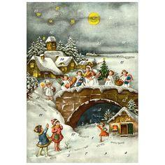Advent Calendar Germany Christmas Snowy Angels With DIY Dresden Trims  #10397