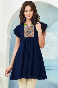 Navy Blue Top Style Georgette Kurti With Embroidary Work Juelle Vol 2 Kessi Fabrics Catalog 9412