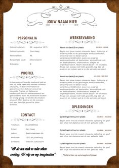 Val op met dit unieke horeca cv inclusief motivatiebrief Cv Template, Templates, Find A Job, Finance, Personalized Items, Easy Meals, Stencils, Resume Templates, Vorlage
