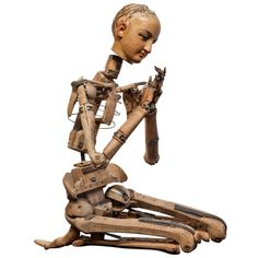 "Life-Sized Skeletal Artist Model or Mannequin. Carved Wood and Painted Papier Mache. France. Circa 1860-1880. 5'-10"" x 8"" x 25""."