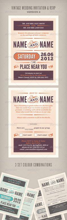 Vintage Wedding Invitation & RSVP Version 2 - GraphicRiver Item for Sale