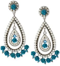 Haskell Silver-Tone Faux Pearl and Blue Crystal Teardrop Earrings