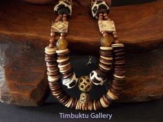 GOLDEN SAND . African inspired Boho fashion necklace. Tribal Bronze & copper. Talisman Ethnic.Tribal. Trade beads. Dangles or tassels.OOAK by Timbuktugallery on Etsy