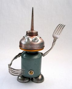 found object sculptures | Holmes - Found object robot assemblage sculpture - a photo on ...