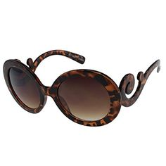 LL Womens Fashion Celebrity Tortoise Oversize Round Sunglasses Swirly Temples -- For more information, visit image link.(It is Amazon affiliate link)