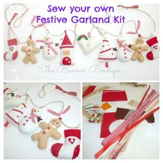 Sew your own Festive felt garland KIT - with stuffing - The Supermums Craft Fair
