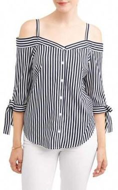 Millenium Women's Stripe Off the Shoulder Tie Sleeve Top Blouse Styles, Blouse Designs, Girls Dresses Sewing, Pakistani Fashion Casual, Shirt Refashion, Old T Shirts, Bold Fashion, Shirt Blouses, Clothes For Women