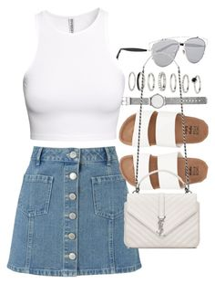 """""""Outfit with denim skirt and white tank top"""" by ferned on Polyvore featuring Miss Selfridge, Witchery, H&M, Billabong, Christian Dior and Yves Saint Laurent"""