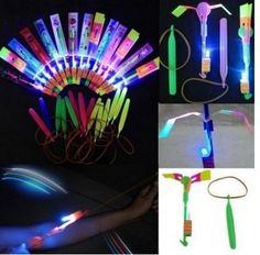 Happyi 8pcs Amazing Led Light Arrow Rocket Helicopter Flying Toy Party Fun Gift Elastic ** Want additional info? Click on the image.