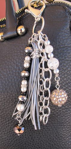 Blingy Purse Charm, Charm Tassel, Zipper Pull, Key Chain Clip - Silver, Leather, Gray, Black, Crystal, Pearl Glass Beads