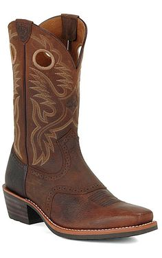 Ariat® Heritage Roughstock™ Men's Brown Oiled Rowdy Square Toe Western Boots | Cavender's
