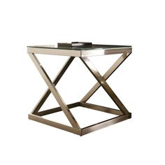 "Your quest for the ultimate end table has come to an end—that is if you lean toward contemporary. Decked out in a chic finish, the angled metal base is striking from every angle. The Coylin square end table is topped off with a clear glass top with polished edging for a completely modern look.DIMENSIONS22""W x 22""D x 22""H"