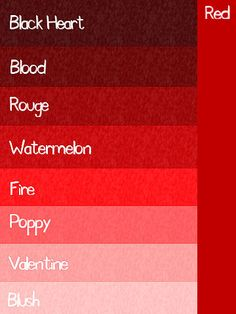 Shades Of Red Colour Chart The Color Thesaurus