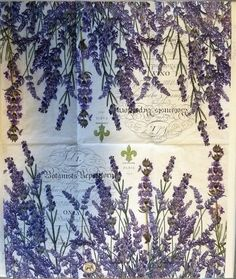 THREE 3 Lavender Rosemary Paper Hostess Napkins by VPaperSupply