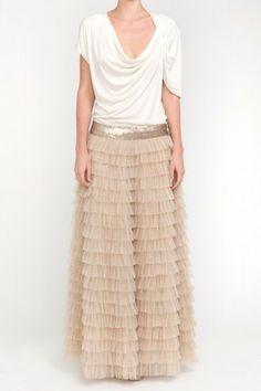 Custom made Gray cotton Boho Hippie Elastic waist Long Ruffle ...