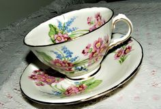 Spectacular Vintage 1947 Hudson and Middleton Sutherland Cup and Saucer Pink Blue Flowers Everywhere
