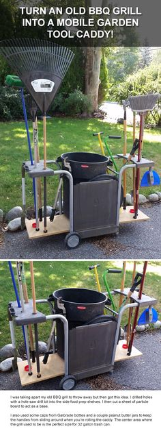 Old BBQ Grill Makes a Great Mobile Garden Tool Storage Caddy! Turn an old BBQ Grill into a mobile rolling caddy for your garden tools or for storage. It's a great way to get my tools from the garage to different areas of the yard!