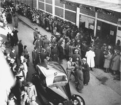Budapest, Hungary, Jews waiting in a line outside the Swedish Embassy.
