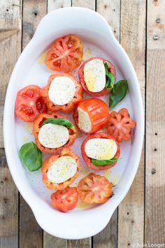 Tomates coeur de boeuf, mozzarella et basilic au four