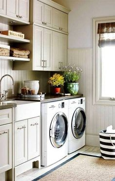 A farmhouse sink and beadboard make this a lovely laundry room; Speak to one of our in-store associates and they'll help you find everything you need to have a stylish yet practical laundry room! Mudroom Laundry Room, Laundry Room Design, Laundry In Bathroom, Laundry Area, Kitchen Design, Garage Laundry, Laundry Storage, Kitchen Interior, Room Interior