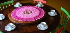 Розовая роза. Салфетка крючком из пряжи «травка» (3)