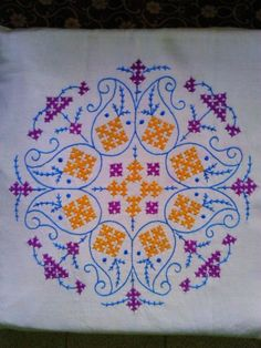 Stitches used are: Kutch Stitch Back Stitch Kasuti Embroidery, Cushion Embroidery, Hand Embroidery Tutorial, Embroidery Flowers Pattern, Embroidery Works, Indian Embroidery, Embroidery Stitches, Peacock Embroidery Designs, Kutch Work Designs
