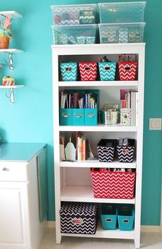 Great way to organize my stuff in my room. storage & organization idea using this bookcase and chevron storage from Target!
