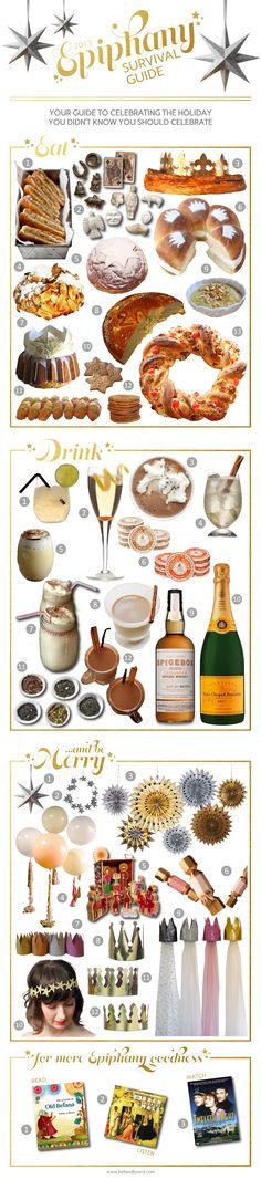 Epiphany Survival Guide on www.bellandboard.com - food, drink, party crowns, cake