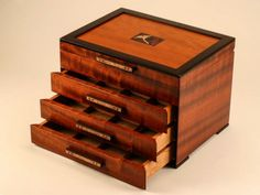 Heartwood Creations has been making finely crafted handmade jewelry boxes since Every custom wooden box is made in our shop in Rockford, Illinois. Modern Jewelry Box, Handmade Jewelry Box, Luxury Jewelry, Custom Wooden Boxes, Wooden Jewelry Boxes, Leaf Jewelry, Small Boxes, Wood Boxes, Decorative Boxes