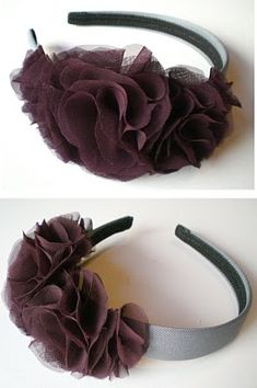 What you need: -Flower petal template- located HERE -Sheer fabric -Felt -Permanent fabric glue -Headband (wide bands work best) -Scissor. Headband Tutorial, Diy Headband, Flower Tutorial, Baby Headbands, Diy Tutorial, Handmade Flowers, Diy Flowers, Fabric Flowers, Tulle Flowers