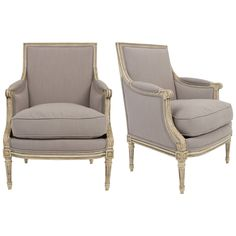 French Louis XVI Pair of Bergères | From a unique collection of antique and modern bergere chairs at https://www.1stdibs.com/furniture/seating/bergere-chairs/