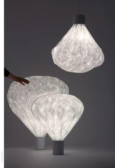 Vapeur Lamp  by Inga Sempé:  Made of folded Tyvak #Lamp #Inga_Sempe