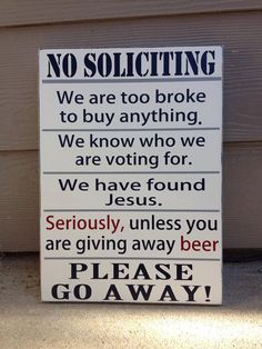 No Soliciting Beer Sign No Solicitation Wood Sign by UpcycledRelic