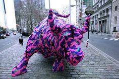 Olek's Crochet'd Bull on Wall Street (NYC)