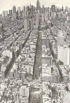 just-art: NYC: Broadway and Canal Street by Stefan Bleekrode Ink on paper, 45x35cm, 2012. http://1dollarscan.com/index.php