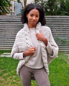 Crochet Pattern cable women shrug  bulky coat cardigan  plus