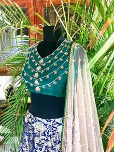 Once upon a dream. Midnight blue kimkhwab lehenga with an emerald green raw silk choli, teamed with a nude toned net dupatta with mukaish work. The embroidery on the choli has been inspired by the Nizams Jewels. Lilac Grey, Organza Saree, Midnight Blue, Indian Wear, Emerald Green, Lehenga, Indian Fashion, Blouse Designs, Ethnic