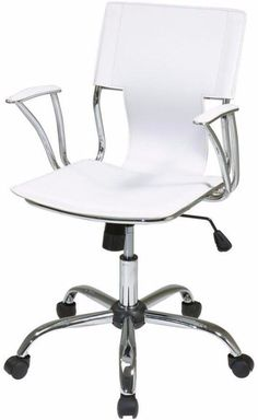 Contemporary White Office Chair Padded Armrest With Built In Lumbar Support