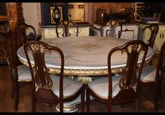 Bernadette presents formal dining set for an exceptional dining This amazing piece of is made in Italy and beautifully hand-painted with a floral Its hand-carved and gold leaf highlighted trims make this a perfect formal dining. Eat like a king! Formal Dining Set, Luxury Dining Room, Types Of Lighting, Large Homes, Beautiful Architecture, Dining Room Furniture, Luxury Furniture, Side Chairs, Interior Decorating