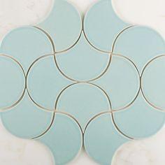 Ogee Drops in Aqua in a Moroccan pattern.