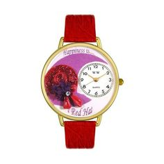 Whimsical Watches Red Hat Red Leather And Goldtone Watch
