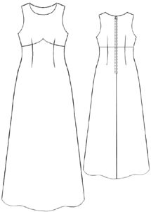 free pattern - Long dress with yoke - this is the EXACT pattern I've been looking for! All I need to do is draft some short cap sleeves, and make it knee length