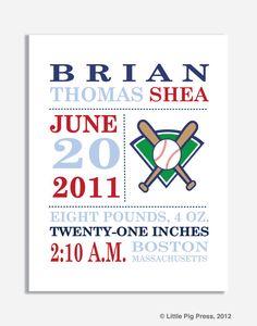 Birth Announcement Print BASEBALL 8 x 10 by LittlePigPress, $18.00