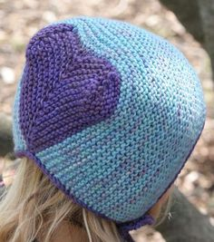 Knitting Pattern for Heart Bonnet - The Heart Hat is knitted in garter-stitch and bordered by i-cord and i-cord ties. Can be sized for babies, children, and adults. One of 26 patterns in Elizabeth Zimmermann's Knitting Workshop book. Pictured project by junkshopgirl
